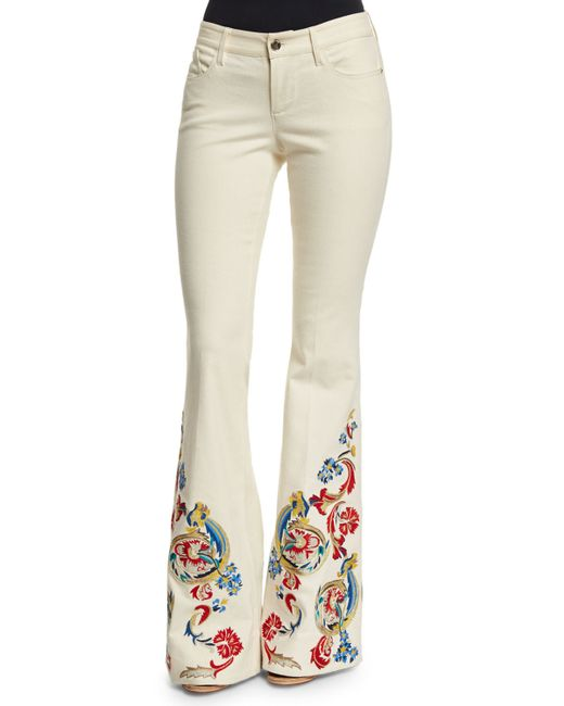 Alice + Olivia | Beige Ryley Low-rise Embroidered Flare Jeans | Lyst