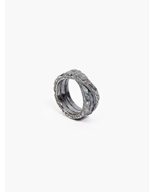 Denis Music | Metallic Oxidised Silver Moebius Triple-cross Ring for Men | Lyst