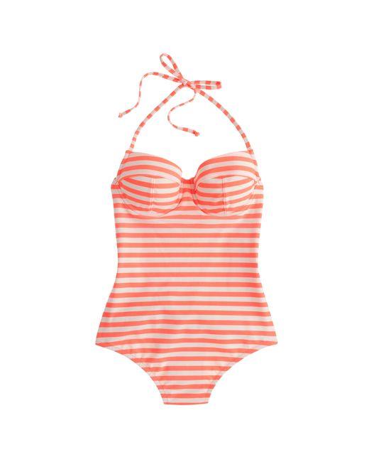 J.Crew | Orange Long Torso Striped Underwire One-piece Swimsuit | Lyst