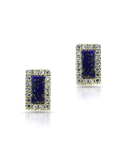 Anne Sisteron - Blue 14kt Yellow Gold Lapis Diamond Bar Stud Earrings - Lyst