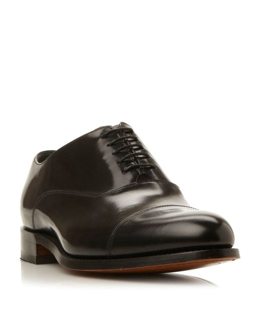 barker winsford high shine leather toe cap shoe in black
