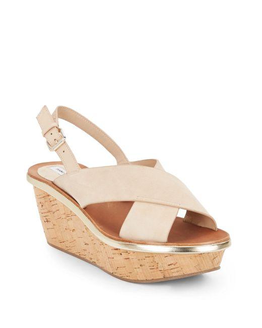 Diane von Furstenberg   Natural Maven Suede Crisscross Cork Platform Sandals   Lyst