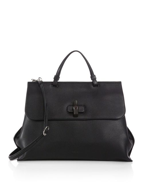 Gucci   Black Bamboo Daily Leather Top Handle Bag   Lyst