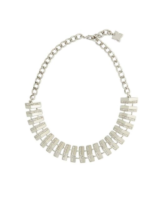 BCBGMAXAZRIA | Metallic Pave Track Necklace | Lyst