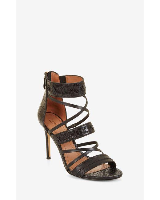 BCBGMAXAZRIA | Black Sylvana Embossed Leather Sandal | Lyst