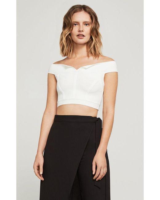 BCBGMAXAZRIA - White Off-the-shoulder Knit Crop Top - Lyst