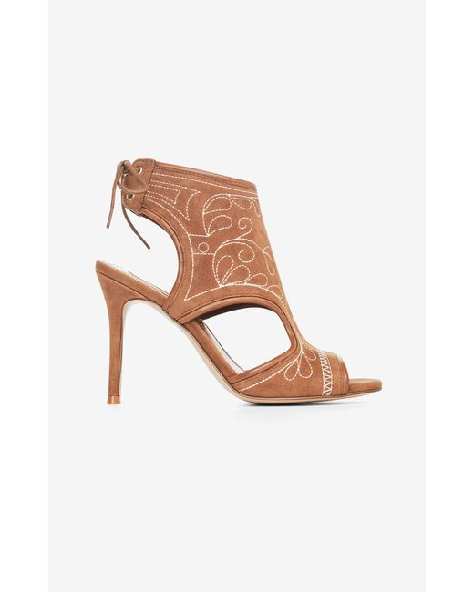 BCBGMAXAZRIA | Brown Myah Embroidered Faux-suede Sandal | Lyst