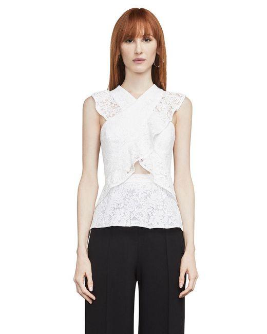 BCBGMAXAZRIA - White Ginata Floral Lace Top - Lyst