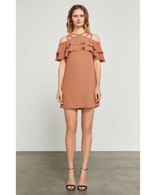 BCBGMAXAZRIA - Multicolor Chelsey Crisscross Ruffle Dress - Lyst
