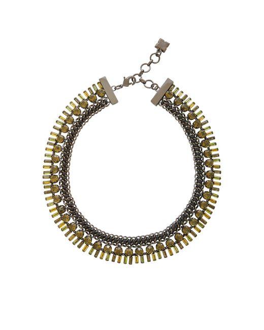 BCBGMAXAZRIA   Multicolor Baguette Stone Necklace   Lyst