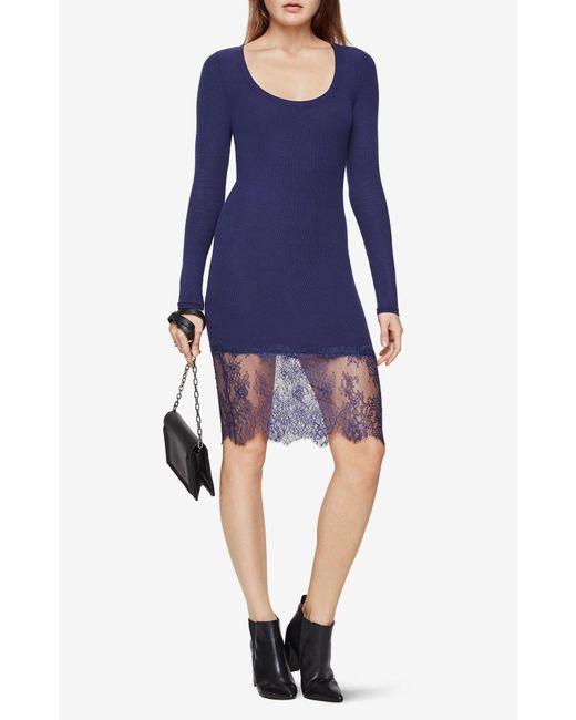 BCBGMAXAZRIA   Blue Livi Lace-hem Dress   Lyst