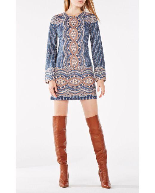BCBGMAXAZRIA - Blue Allina Burnout Deco Print Mesh Dress - Lyst