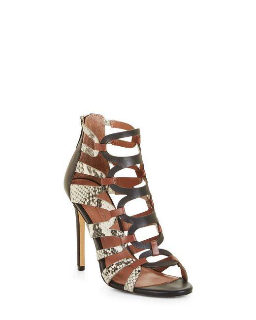 BCBGMAXAZRIA - Multicolor Valentia Python Leather Sandals - Lyst