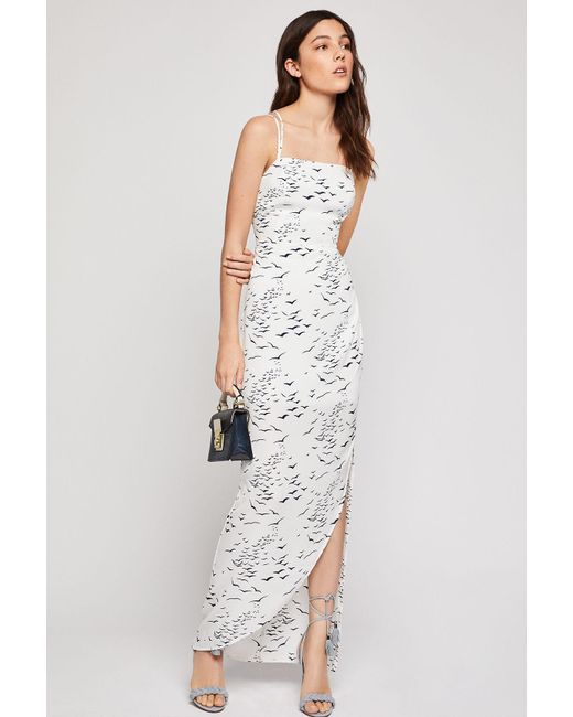 d4a7ed67d8fe0 BCBGeneration - White Printed Strappy Back Maxi Dress - Lyst ...