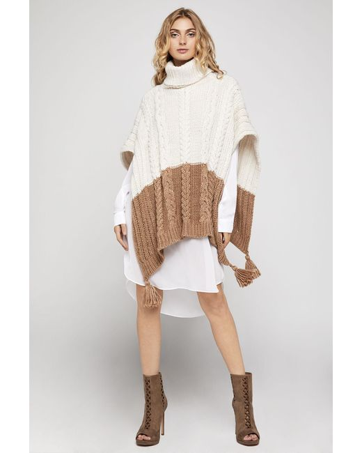BCBGeneration | Multicolor Color-blocked Turtleneck Poncho | Lyst