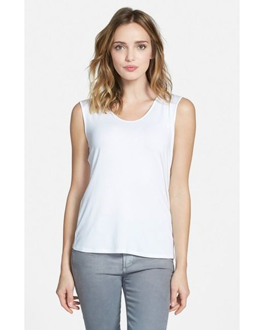 Eileen Fisher | Purple Scoop Neck Jersey Tee | Lyst