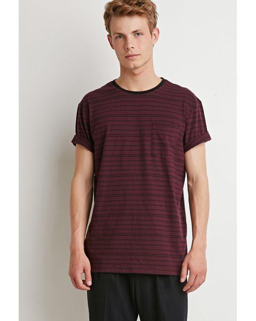 Forever 21 | Purple Striped Pocket Tee for Men | Lyst