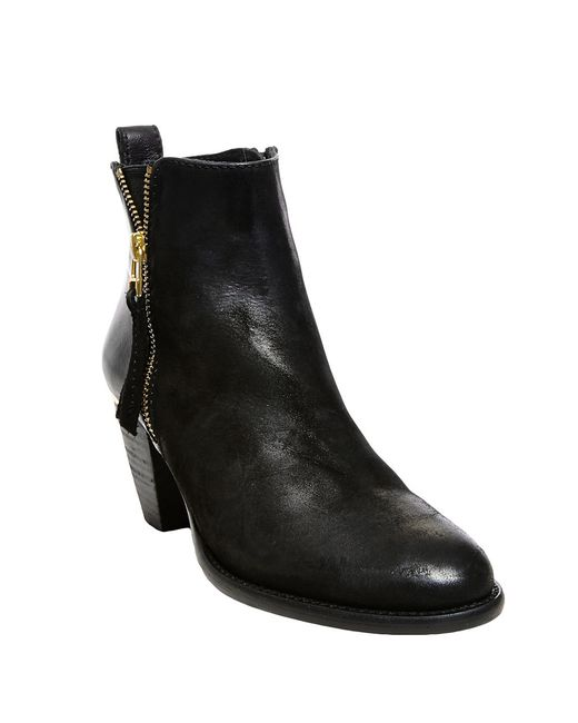 Steve Madden | Black Wantagh Leather Ankle Boots | Lyst