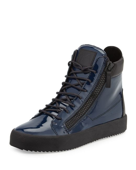 Giuseppe Zanotti Patent Leather High Top Sneakers In Blue