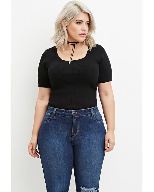 Forever 21 | Black Plus Size Classic Ribbed Top | Lyst