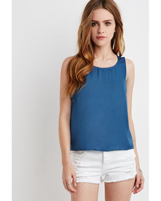 Forever 21 | Blue Satin Side-cutout Blouse | Lyst