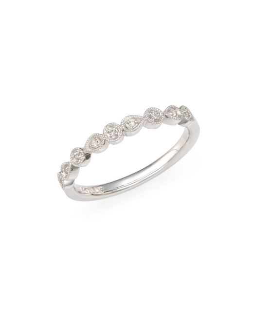 Saks Fifth Avenue | Metallic Diamond & 14k White Gold Teardrop Band Ring | Lyst