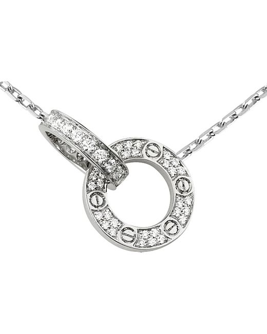 Cartier | Love 18ct White-gold And Diamond Necklace | Lyst
