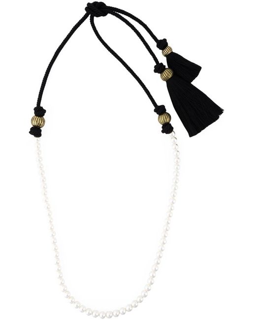 Lanvin Pearl Necklace: Lanvin Pearl And Tassel Necklace In Black (WHITE)