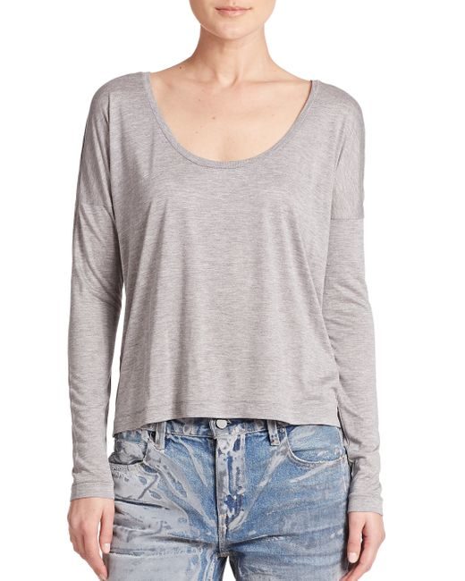 T By Alexander Wang | Gray Long-sleeve Jersey Tee | Lyst