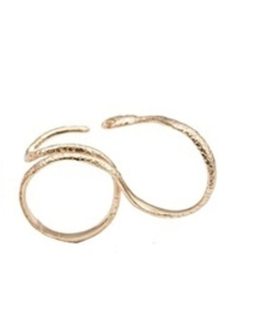 bernard delettrez snake gold two finger ring in metallic