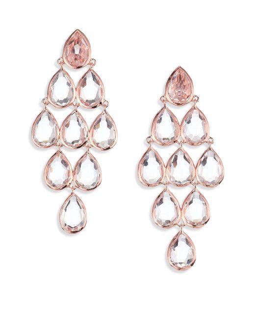Ippolita | Pink Rose Rock Candy Clear Quartz Teardrop Chandelier Earrings | Lyst
