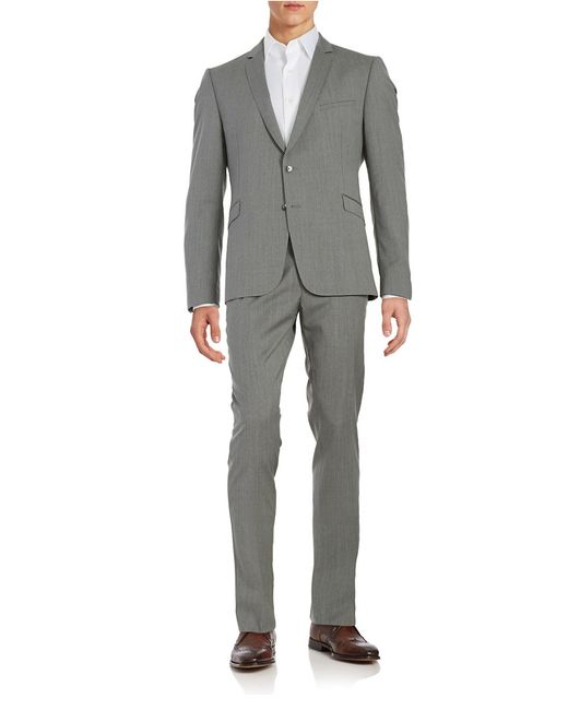 strellson drace madden slim fit suit in gray for men. Black Bedroom Furniture Sets. Home Design Ideas