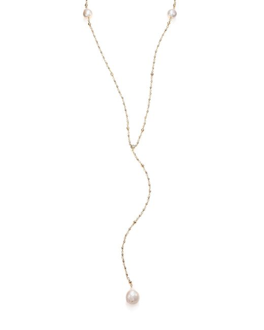 Mizuki | Metallic 15mm White Baroque Freshwater Pearl, Diamond & 14k Yellow Gold V Necklace | Lyst