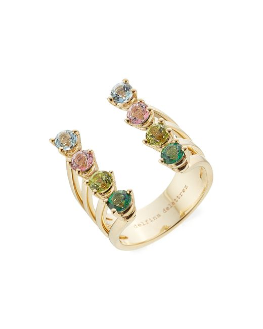 Delfina Delettrez | Metallic 9kt Gold Ring With Topaz And Peridot | Lyst