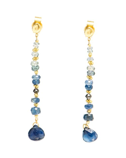 Natasha Collis | Blue Sapphire And 18kt Gold Drop Earrings | Lyst