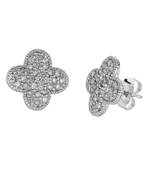 Morris & David | Metallic 0.74 Ct T W Diamond Clover Earrings In 14 Kt White Gold | Lyst