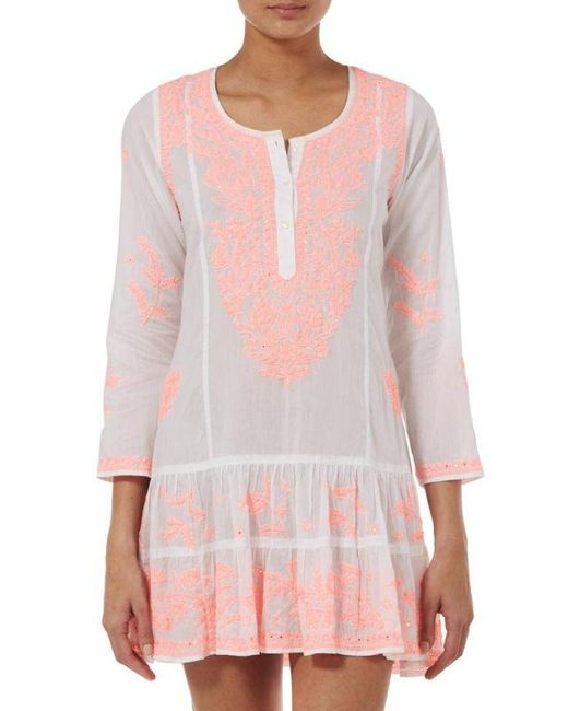 Juliet Dunn - Pink Coral Embroidered Dress - Lyst