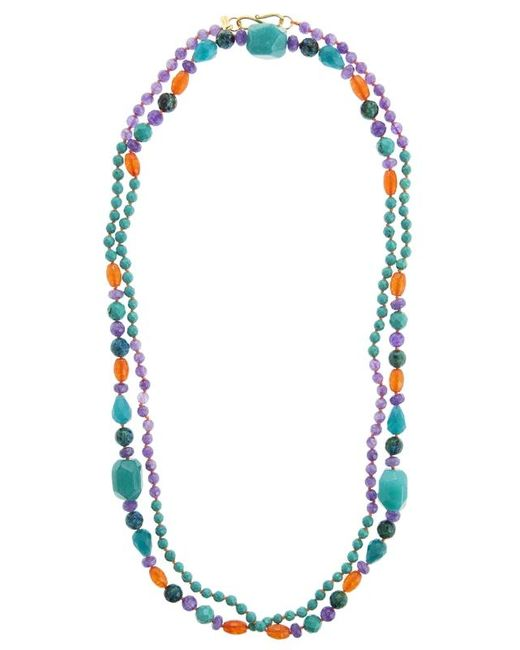 Pink Powder | Blue Turquoise & Purple Agate Beaded Necklace | Lyst