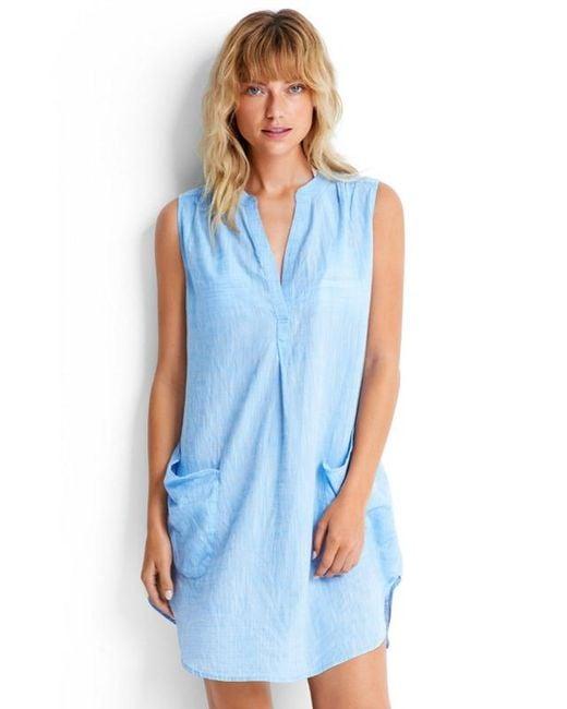 Seafolly   Sleeveless Beach Shirt Blue   Lyst