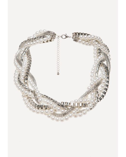 Bebe | Metallic Faux Pearl Twisted Necklace | Lyst