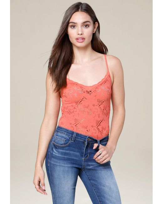 Bebe - Multicolor Lace Strappy Bodysuit - Lyst