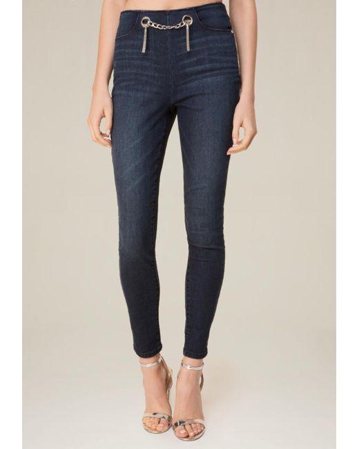 Bebe Chain Belt Jeans in Blue | Lyst