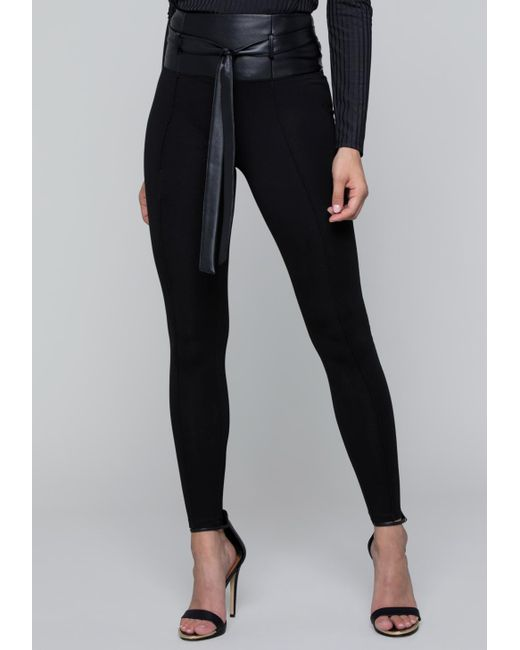 Bebe - Black Belted Leggings - Lyst