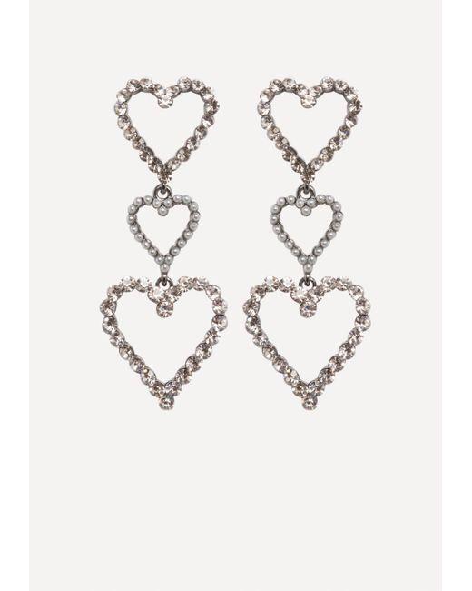 Bebe | Metallic Triple Heart Earrings | Lyst