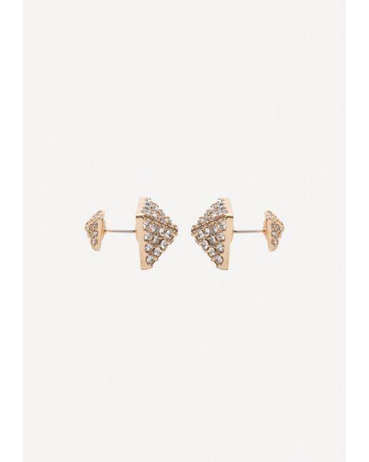 Bebe - Metallic Crystal Pyramid Earrings - Lyst