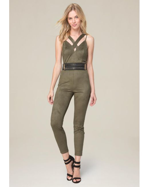 Bebe | Green Strappy Faux Suede Jumpsuit | Lyst