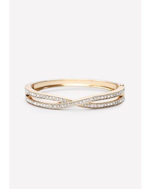 Bebe | Metallic Crystal Crossover Bracelet | Lyst