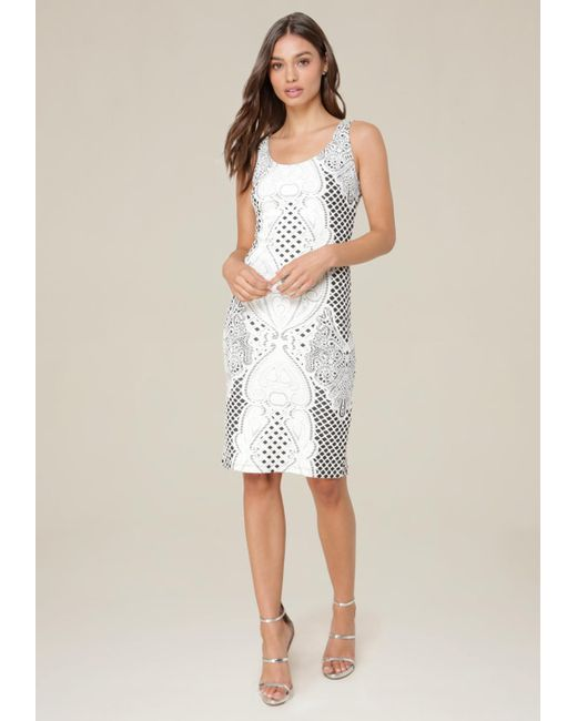 Bebe | White Jacquard Midi Dress | Lyst