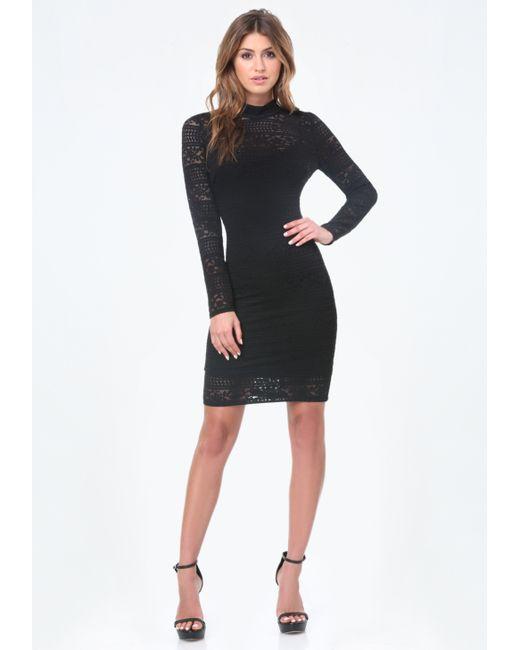 Bebe   Black Danica Lace Mock Neck Dress   Lyst