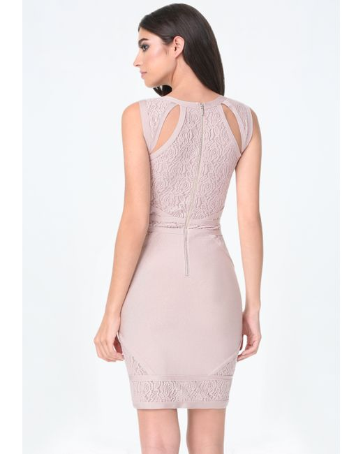 Bebe alana banded lace dress in pink rose dust lyst for Bebe dresses wedding guest